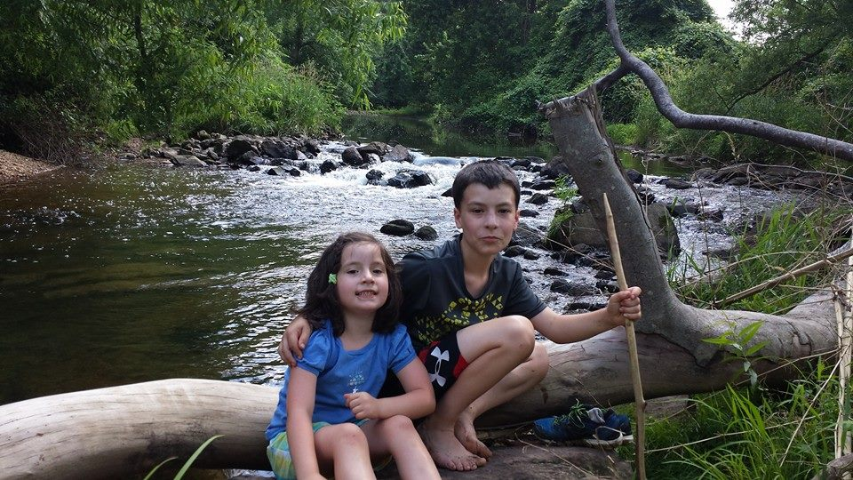 Two kids sitting on a log over a river