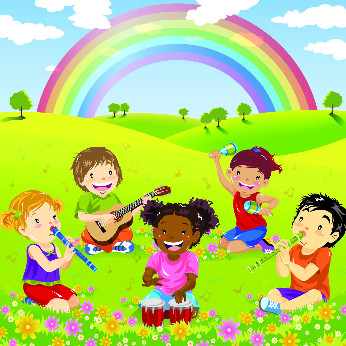 A cartoon image of children playing musical instruments on a grass field with a rainbow in the back